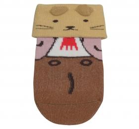 哈維鼠造型短筒襪-咖