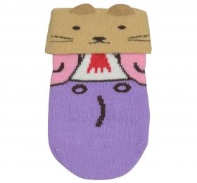 哈維鼠造型短筒襪-紫