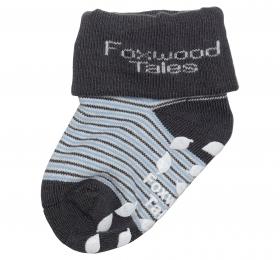 反折橫紋抗菌襪-藍
